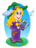 Cute witch with lyre Stock Image