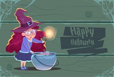 Cute Witch Making Potion In Pot, Happy Halloween Banner Party Celebration Concept. Flat Vector Illustration Royalty Free Stock Images