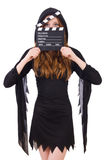 Cute witch with movie board Stock Image