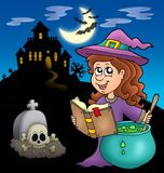 Cute witch with potion and mansion. Color illustration Royalty Free Stock Photos