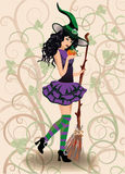 Cute witch and pumpkin, halloween card Royalty Free Stock Photography