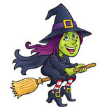 Cute Witch Riding A Broom Royalty Free Stock Photography