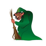 Cute Witch Riding A Broom Royalty Free Stock Image