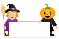 Cute Witch & Scarecrow with Blank Banner Royalty Free Stock Image