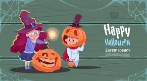 Cute Witch And Scarecrow, Happy Halloween Banner Party Celebration Concept. Flat Vector Illustration Royalty Free Stock Images