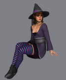 Cute witch in sitting position Stock Images
