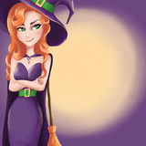 Cute witch with a sly smile and moon Royalty Free Stock Photography
