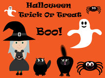 Cute Witch, Spider, Cats & Ghosts Halloween Vector Royalty Free Stock Photos