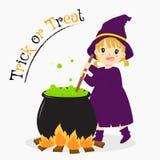 Cute Witch Stirring Potion, Halloween Cartoon Vector. Cute witch stirring green potion in a cauldron. Halloween cartoon Stock Photo