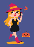 Cute Witch Talking on the Phone Royalty Free Stock Images