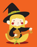 Cute Witch Tuning Acoustic Guitar Royalty Free Stock Photography