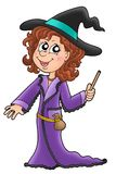 Cute witch with wand. Color illustration Royalty Free Stock Photo