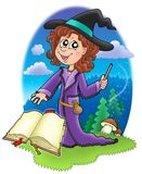 Cute witch with wand and book. Color illustration Royalty Free Stock Image