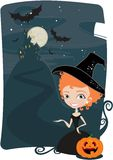 Cute witches frame Stock Photos