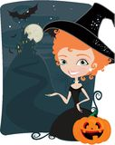 Cute witches frame Royalty Free Stock Photography
