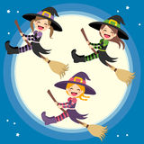 Cute Witches Group Flying Royalty Free Stock Photos