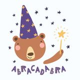 Cute wizard bear. Hand drawn vector illustration of a cute funny bear in a wizard hat, holding magic wand, with lettering quote Abracadabra. Isolated objects stock illustration