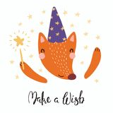 Cute wizard fox. Hand drawn vector illustration of a cute funny fox in a wizard hat, holding magic wand, with lettering quote Make a wish. Isolated objects royalty free illustration