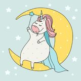 Cute wizard unicorn with wand sitting on the moon. Cartoon illustration. Doodle art of magic creature. Can be used for t-shirt pri. Nt, print design, wear, baby Stock Image