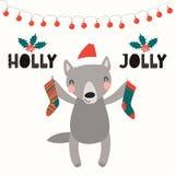 Cute wolf Christmas card vector illustration
