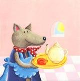 Cute wolf serving tea. Acrylic illustration of cute wolf serving tea Stock Photography