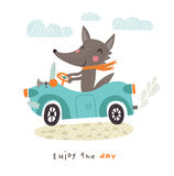 Cute wolf. A cute wolf travels by car royalty free illustration