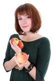 Cute woman with apples isolated over white  Royalty Free Stock Image