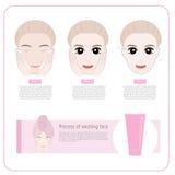 Cute woman applying moisturizer .vector illustration Stock Photos
