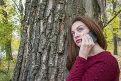 Cute woman in autumn in the park talking on the phone. Royalty Free Stock Photos