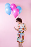 Cute woman with balloons. Concept Celebration and Party. Stock Photos