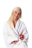 Cute woman in a bathrobe Royalty Free Stock Photo