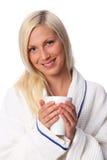 Cute woman in a bathrobe Royalty Free Stock Image