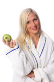 Cute woman in a bathrobe Royalty Free Stock Images