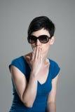 Cute woman beauty wearing sunglasses sending kiss Royalty Free Stock Photography