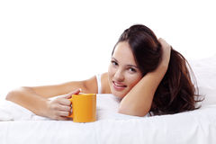 Cute woman in bed Stock Photo