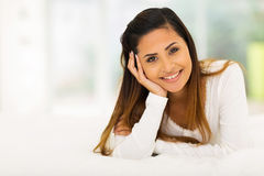 Cute woman on bed Royalty Free Stock Photos