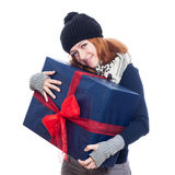 Cute woman with big present Stock Images