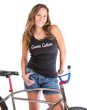 Cute Woman with Bike Stock Images