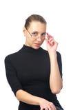 Cute woman in black dress stock image