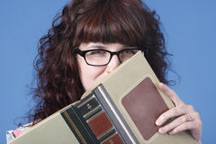 Cute woman with book Royalty Free Stock Photography