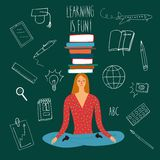 Cute woman with books on her head. Cartoon girl sitting with books on her head. Vector illustration about education Stock Photo
