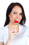 Cute woman with bright candy Stock Image