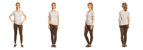 Cute woman in brown footless tights isolated on white background Stock Photography
