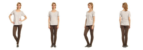 Cute woman in brown footless tights isolated on white background Royalty Free Stock Photography