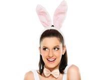 Cute woman with bunny ears isolated Stock Photos