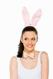 Cute woman with bunny ears isolated Stock Photography