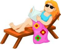 Cute woman cartoon sitting relaxed on the beach Stock Photos