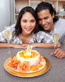 Cute woman celebrating her birthday Royalty Free Stock Images