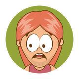 Cute woman character icon. Illustration design Stock Photo