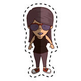 Cute woman character icon. Illustration design Royalty Free Stock Photo